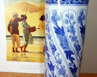 UMBRELLA STAND Blue & White Chinoiserie Style Umbrella Holder French Asian Ceramic Chinese Hollywood Regency Event Floral Display Vase