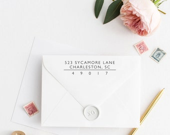Return Address Stamp, Address Stamp, Custom Address Stamp, Wedding Return Address Stamp, Personalized Return Address Stamp, Rubber Stamp 108
