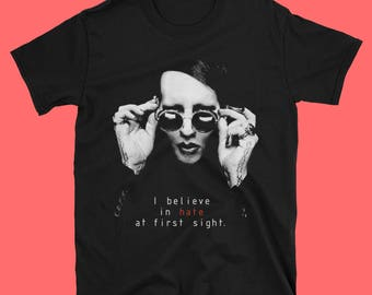 "Marylin Manson t shirt ""I Believe in hate at first sight"" black industrial dark goth metal underground rock, front & back print, 100% cottn"