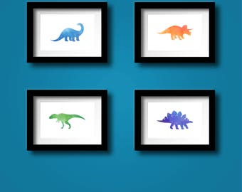 Dinosaur Watercolor Art Prints Set of Four - Instant Download