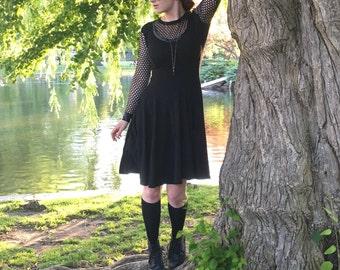 Fishnet Cutout Dress, Gothic Summer Dress, Black Fishnet Dress, Sheer Mesh Dress, Sheer Gothic Dress, Goth Fishnet Dress, Skater Skirt Dress
