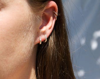 Sterling silver hoops - small silver hoops - silver hoop earring - thick hoop earrings - hoops - creole earrings - silver creoles -A14210