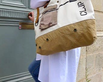 Hand made cream Tote with partly materials recycled.