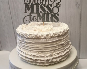 From Miss to Mrs cake topper, engagement are topper, bridal shower cake topper