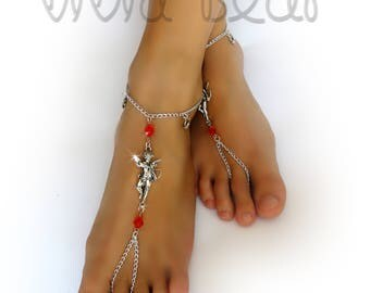 Cupid Barefoot Sandals. Silver Foot Jewelry. Arrow-Shooting Cherub. Red Beads. Heart Charms Anklets. Beach Wedding. Romantic Love. Set of 2