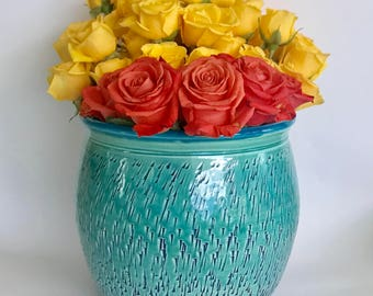 Large Handmade Green and Caribbean Blue Ceramic Flower Vase/Planter