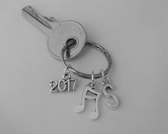 Double quaver music note keyring, music lover gift, music teacher gift, music student gift, musician gift for him or her, customised initial