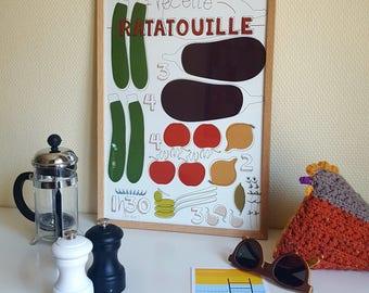 """A3 poster design - Graphic recipe """"Ratatouille"""""""