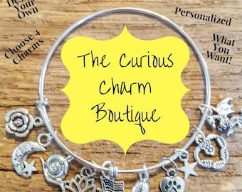 Custom Charm Bracelet, Expandable Bracelet, Stainless Steel, Custom, DIY Charm Bracelet, Custom Charm Bangle, Expandable, Adjustable,