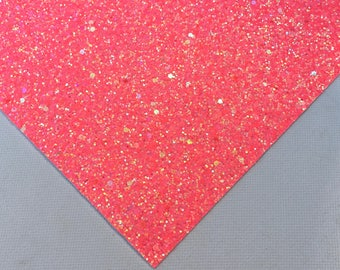 Chunky Glitter Fabric- Melon | Glitter Sheets | Glitter Canvas Fabric Sheets | DIY Glitter Bows | Glitter Fabric Bows | Glitter Bows DIY