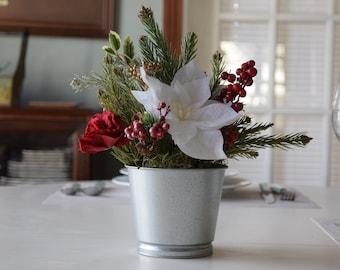 Christmas- flower arrangment- holiday basket- poinsettia-