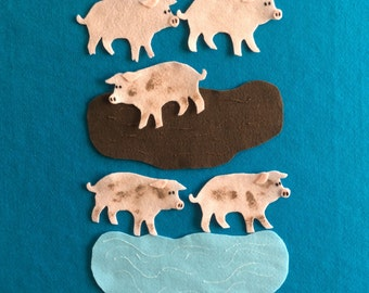Felts stories pigs//Felt stories numbers//Felt stories counting//2 Felt stories math//Felt stories 5 pigs//