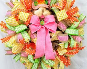 Spring Bunny Wreath, Bunny Wreath, Easter Wreath, Front Door Wreath, Spring Door Decor, Easter Decor, Spring Wall Decor, Bunny Decor