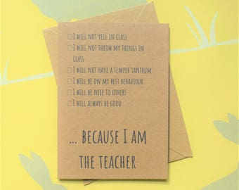 Teacher card, Card for teacher, Thanks teacher, Funny teacher card, Teacher gift, Thank you teacher,  School card, Thank you card,