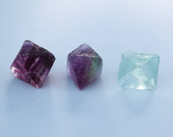 3 Fluorite Octahedrons, Raw Fluorite crystals, Rainbow Fluorite, Green Fluorite, Purple Fluorite, Mercury retrogate crystals, cleanser stone