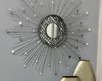 30 inch Quatrefoil Silver Sunburst Mirror