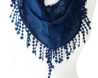ROYAL BLUE SCARF, navy blue spring scarf cotton, blue shawl, blue scarf, trendig items, gift ideas for her, Mothers Day Gift