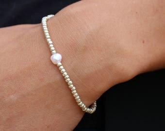 Freshwater pearl bracelet delicate soft white and silver miyuki