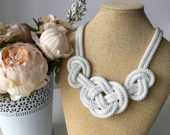 White knot Necklace- Rope necklace- Nautical necklace- Bib rope necklace- Sailor knot necklace- Wedding necklace-  Gift for women- Rope knot