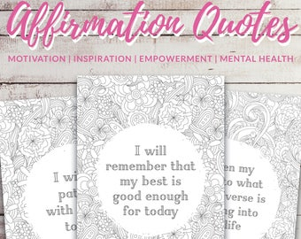 3 x Anti Stress Coloring pages, Anxiety relief gift, Self care printable, Anti anxiety, Mental health awareness, Positive affirmation