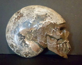 Large Ammonite, carved skull, comes with stand