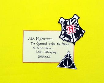 Hogwarts Logo + Deathly hallows + Letter From Hogwarts to Harry Potter The Cupboard under the Stairs - Iron on patch