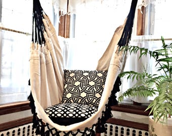 Luxury Hammock Chair Black Fringe 6 Feet Long White Hanging