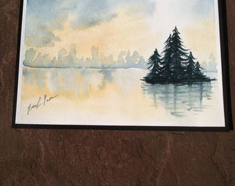 Watercolor Painting: Forest on the Lake