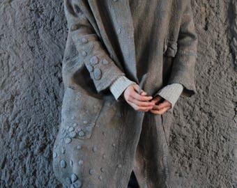 Women coat, oversized , wearable art, nuno felted coat, designer coat, Handmade, felted jacket, eco-fashion, wool Coat , gray coat, clothing