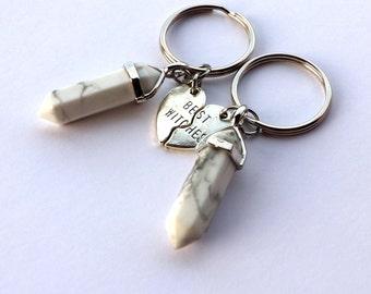 BEST WITCHES KEYCHAINS: Best Friend Keychain, Friendship Keychain, Personalized Friendship Gift, Best Friend Gift, Crystal Keychain Bff Gift