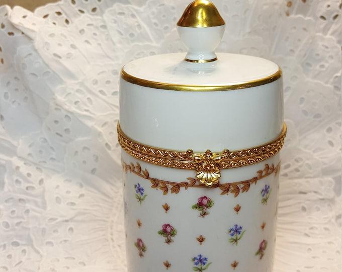 Haviland France Vieux Sevres Tall Hinged Porcelain Jar for Q-tips Dresser Tray