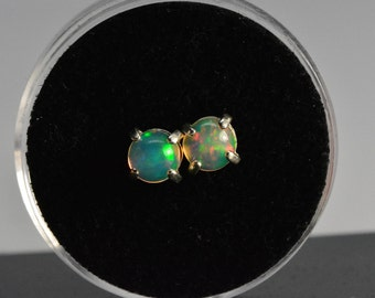 Opal earrings studs,sterling silver,6mm,natural ethiopian opal,welo opal,opal earrings silver,opal jewelry,october birthstone