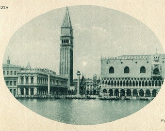 Vintage Venice postcard/View of Venice/Green rotogravure