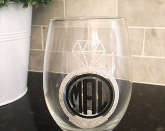 Personalized Stemless Wine Glass Personalized Wine Glasses, Monogrammed Stemless Wine Glass, Monogrammed Wine Glass, Engagement Gift