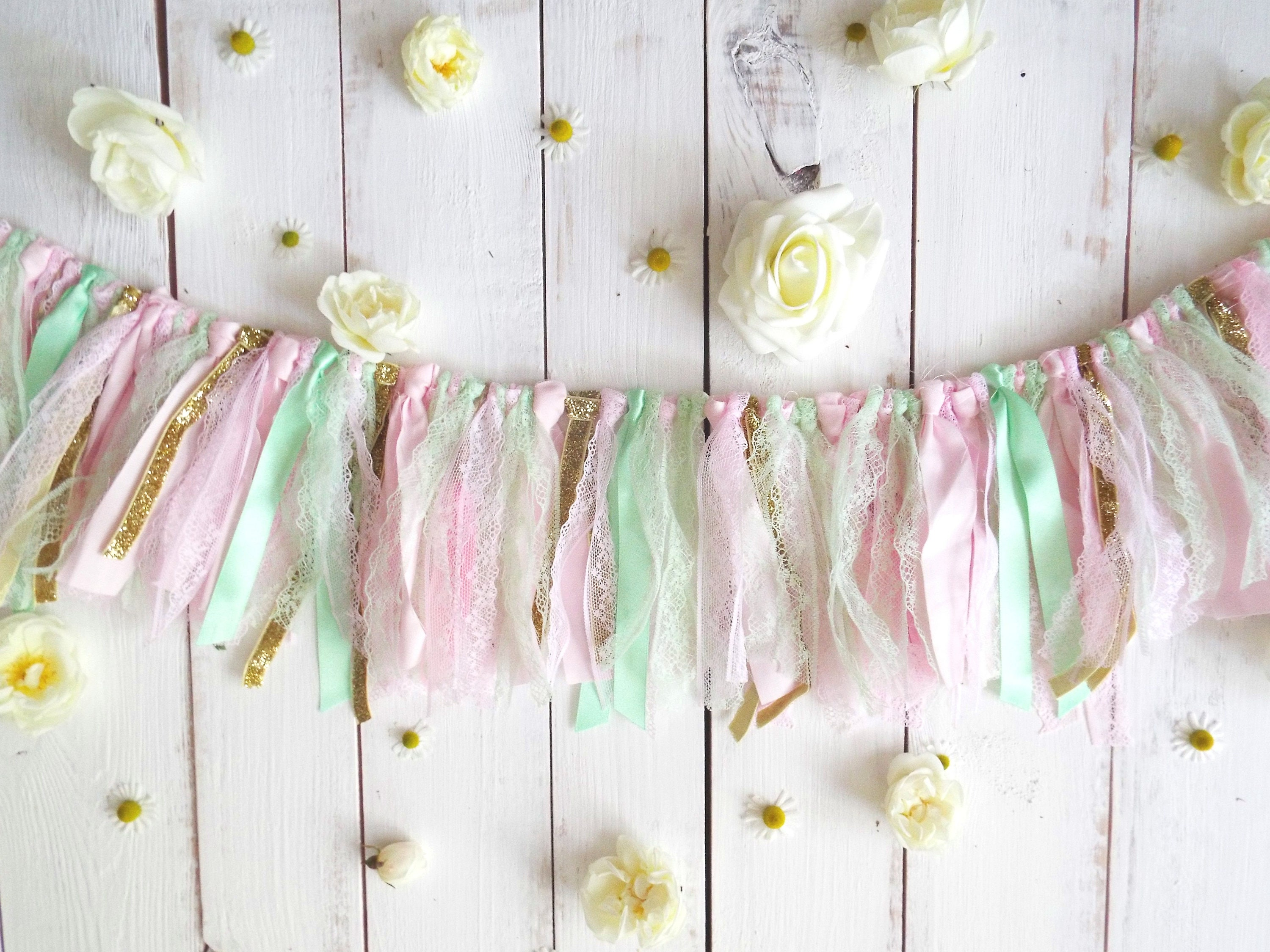 Garland pastel green lace pink glitter gold shabby chic banner ...