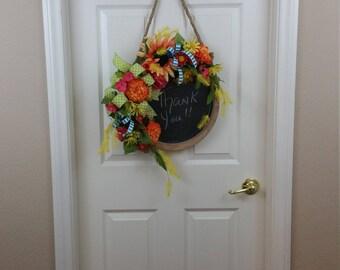 Floral Chalkboard Door Hanger, Chalkboard Decor, Chalkboard, Summer Decor, Spring Decor, Summer Door Hanger, Floral Wreath