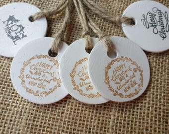 5 Christmas tags. Rustic clay Christmas gift tags.