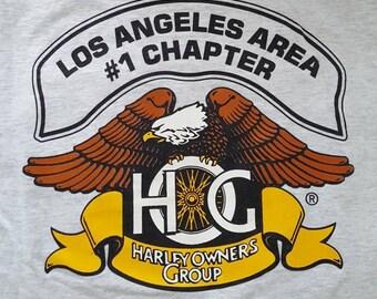 Vintage Harley Owners Group pocket t-shirt, men's large