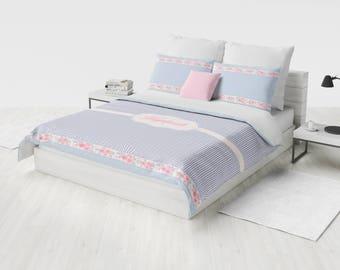 Monogram Bedding Set, Personalized Duvet Cover Set, Custom Bedding, Pink & Blue Floral Bedding, Twin, Full, Queen, King, Girl Bedding w Name