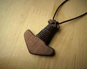 Wooden Thor's Hammer Mjölnir Pendant - Leather Wrapped