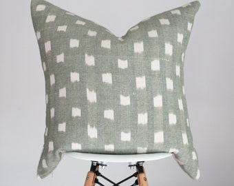 20 x 20 Jade Green with White Dot Handwoven Pillow Cover from India, Boho Pillow Cover, Nursery Pillow Cover