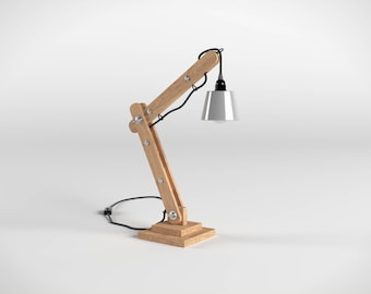 Articulated 50cm wooden architect lamp