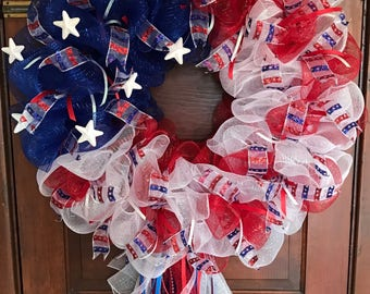 Independence Day Wreath, 4th of July, Fourth of July Wreath, American Wreath, Patriotic Wreath, Stars and Stripes
