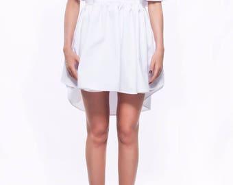 White shirt dress/ Assymetric dress/ Loose dress/ Mini dress/ Extravagant dress/ Party dress/ Casual dress/ Designer dress