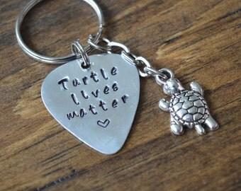 SALE: Turtle Keychain, Turtle Lives Matter, Turtle Lover,  Turtle Lover Gift, Animal Lover, Animal Lover Gift, Turtle Charm, Keychain.