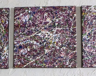 Triptych painting 1. Original abstract art Jackson Pollack inspired