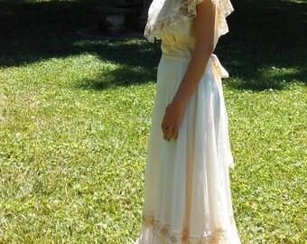Vintage Lace Off the Shoulder Gown