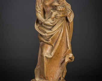 Beautiful Italian Wooden Madonna w Child Christ Sculpture Hand Carved Mary Jesus