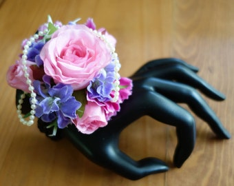 Pink and mauve Wedding Corsage Bracelet
