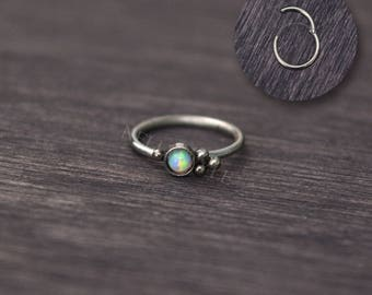 Opal Tragus Earring - Surgical steel cartilage hoop, helix jewelry, rook piercing